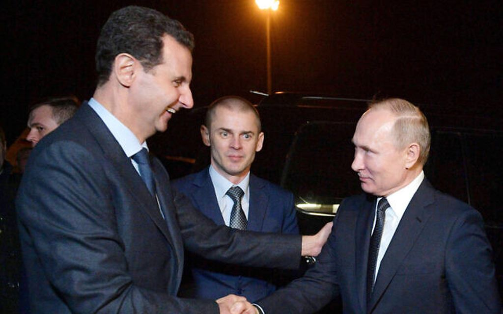 Los Presidentes Putin y Assad en Damasco el 7 de enero (Alexei Druzhinin, Sputnik, Kremlin Pool Photo via AP)