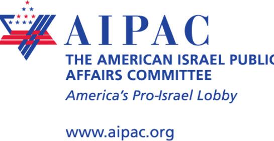 Un cartel con el logo del lobby pro israelí en EStados Unidos AIPAC, compuesto por una combinación de la Estrella de David y simbología de la bandera norteamericana.