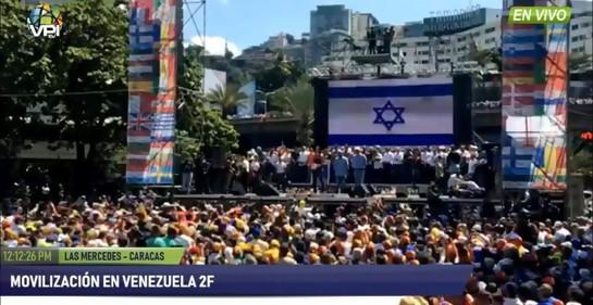 Bandera de Israel proyectada en mitín pro democracia en Venezuela