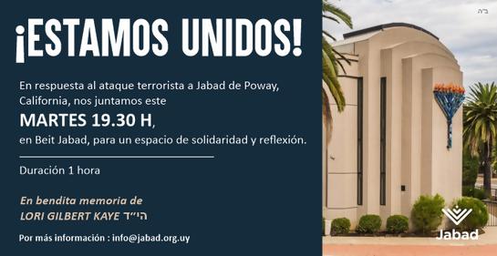 Este martes 30 de abril, cita en Jabad Uruguay