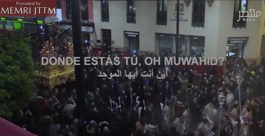 Escena de un video publicado por Muntasir Media exhortando a perpetrar atentados en España en Semana Santa