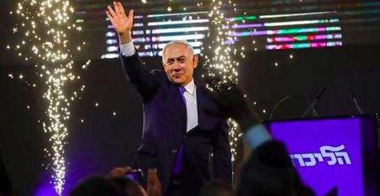 El Premier israelí Biniamin Netanyahu en la noche de las elecciones
