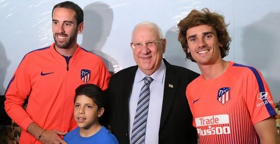 l Presidente Rivlin, Diego Godin y Antoine Gryzman
