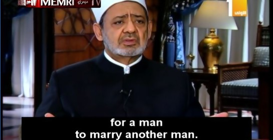 Jeque en Al-Azhar Ahmad Al-Tayyeb anuncia castigo a Occidente por matrimonio homosexual.