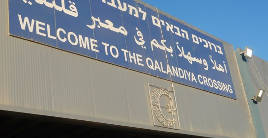 La entrada al pasaje de Kalandia al noreste de Jerusalem