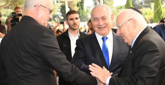 Días atrás, el Presidente Rivlin, Netanyahu y Gantz (Amos Ben Gershom GPO)