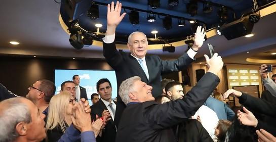 Netanyahu en uno de los encuentros políticos de la campaña