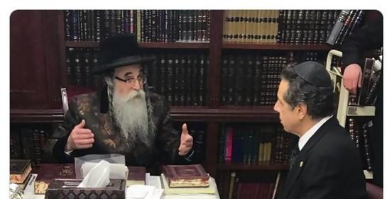 El Gobernador de NY Andrew Cuomo con el rabino Rottenberg (Foto: Twitter)