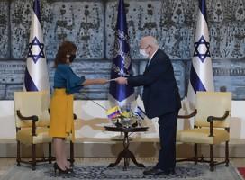 En primera presentación de credenciales en la pandemia, el Presidente de Israel recibió a la Embajadora de Colombia y al nuevo Embajador de Argentina