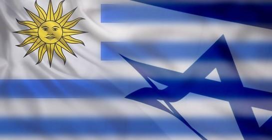 Bandera de uruguay entrelazada con la de Israel