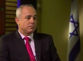 ministro Steinitz, de traje, corbata roja, serio, al lado, bandera de Israel