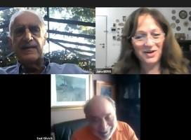 Con Jack Terpins y Saúl Gilvich, conversando sobre la misión del Congreso Judío Latinoamericano