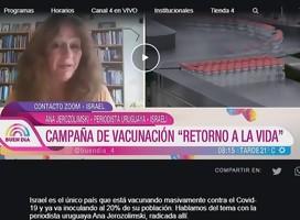 Ana Jerozolimski habla en Canal 4: se vacunó al 20% de la población en Israel
