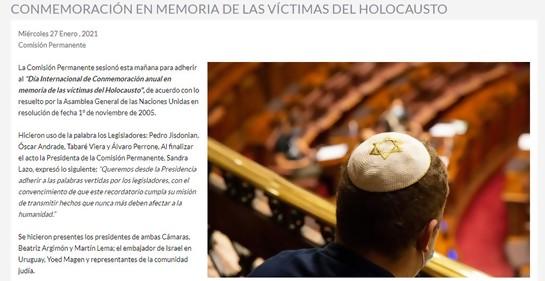 El Parlamento uruguayo rindió homenaje a las víctimas de la Shoá